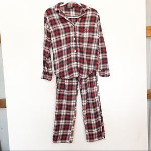 LAUREN RALPH LAUREN PLAID PAJAMA SET RED GREEN S